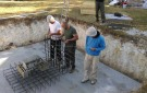 Assembling the rebar structure of the central chamber.