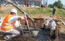 Pouring the concrete slab.