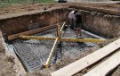 """The rebar structure installed for the concrete slab; dismantling the """"homemade"""" moving support."""