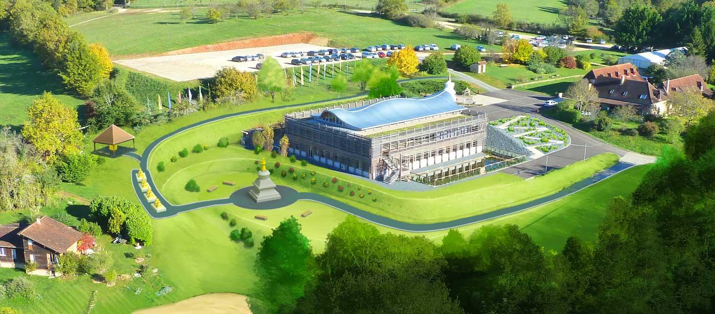 Visuel : dessin présentant une vue aérienne de Dhagpo où on peut voir le projet du jardin méditatif