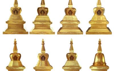 Les huit stoupas : huit étapes de la vie du bouddha Shakyamuni